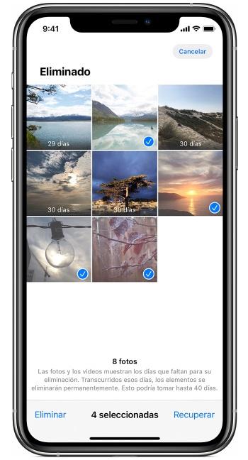 papelera fotos iphone