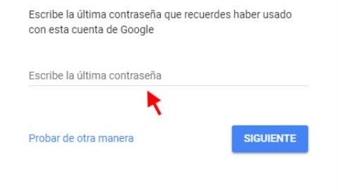 ultima contrasena google