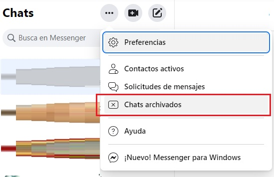 chats archivados messenger
