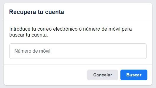 recuperar cuenta facebook email